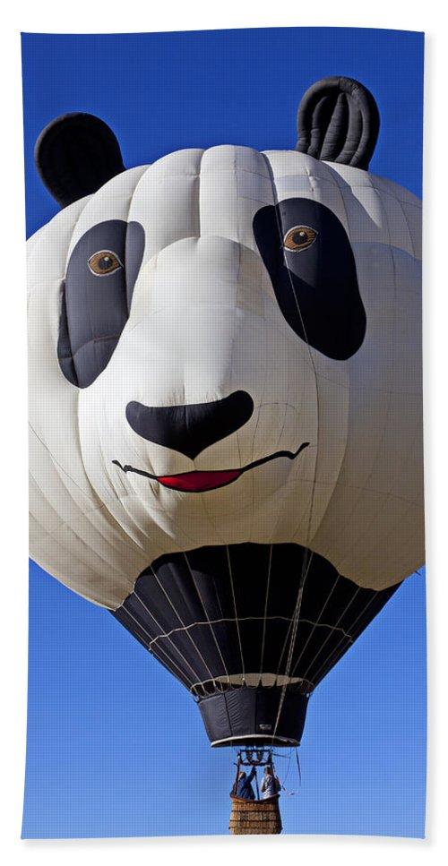 Panda Hand Towel featuring the photograph Panda Bear Hot Air Balloon by Garry Gay