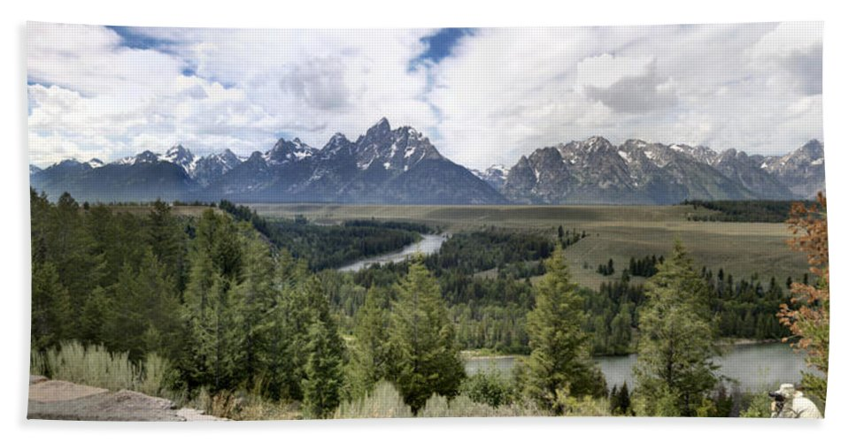Panorama Snake River Grand Teton Mountains Hand Towel featuring the photograph Panorama Snake River Grand Teton by Paul Cannon