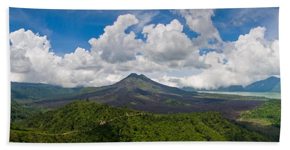 Ash Bath Sheet featuring the photograph Panoramic View Of A Volcano Mountain by U Schade