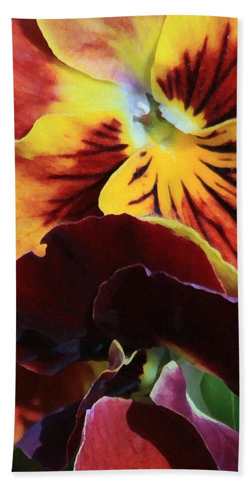 Pansies Hand Towel featuring the photograph Pansies by Donna Corless