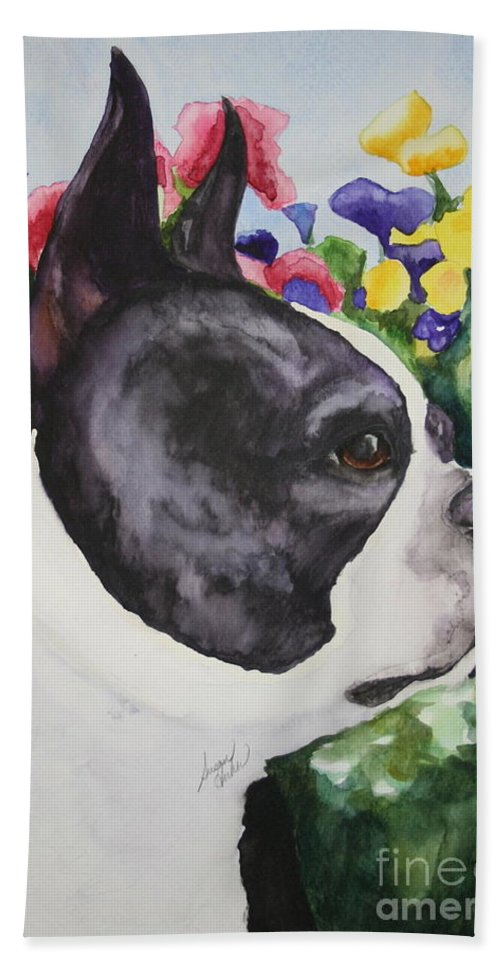 Boston Terrier Bath Sheet featuring the painting Pansy by Susan Herber