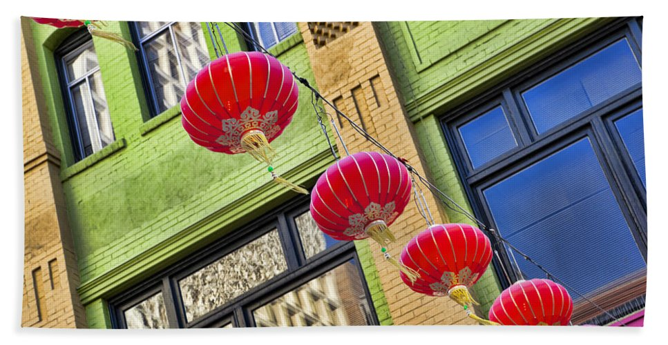 Chinatown Bath Sheet featuring the photograph Paper Lanterns by Kelley King