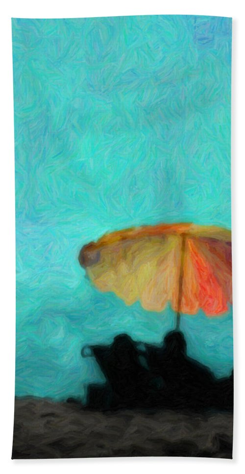 Umbrella Bath Sheet featuring the photograph Paradise By The Sea by Trish Tritz