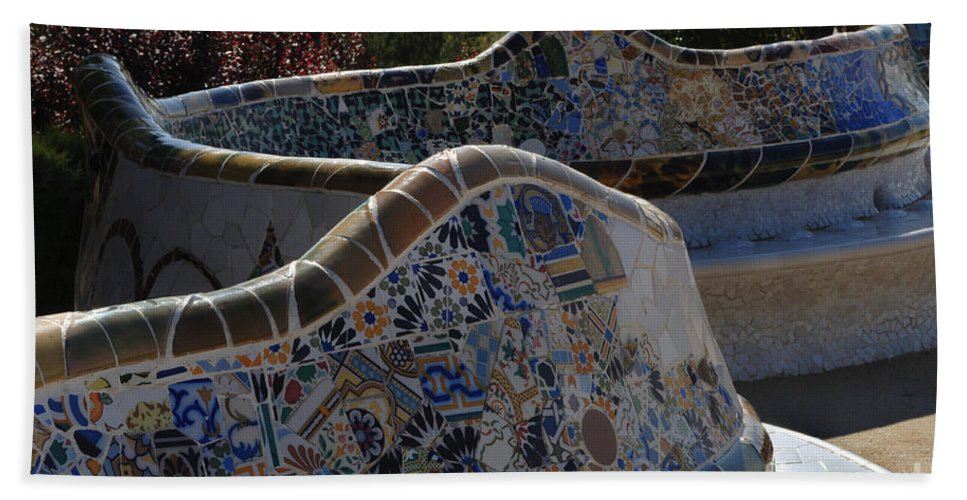 Parc Guell Hand Towel featuring the photograph Parc Guell Barcelona by Bob Christopher