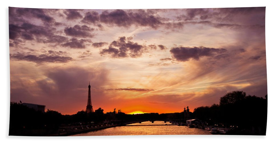 Ancient Hand Towel featuring the photograph Paris At Dusk by Mircea Costina Photography