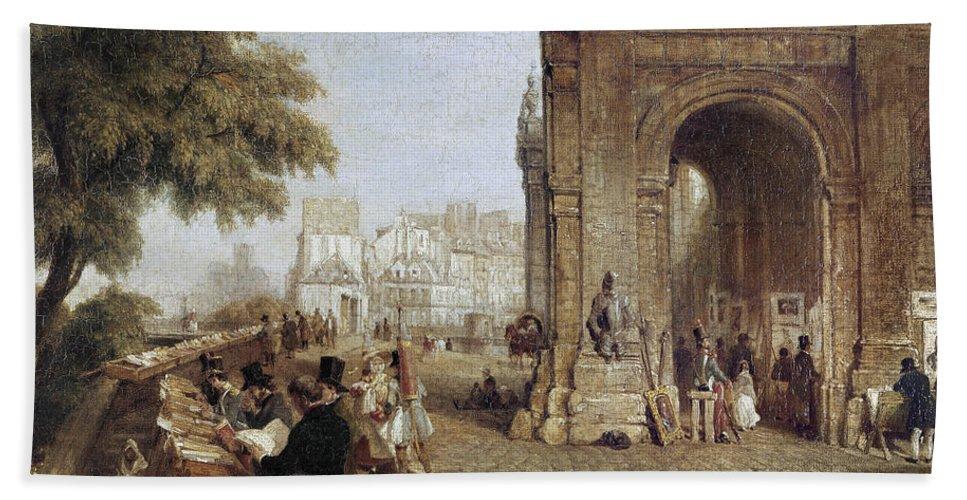 1843 Bath Sheet featuring the photograph Paris: Book Stalls, 1843 by Granger