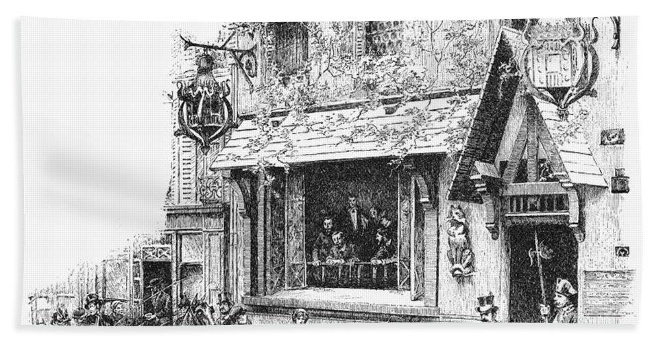 1889 Bath Sheet featuring the photograph Paris: Cafe, 1889 by Granger
