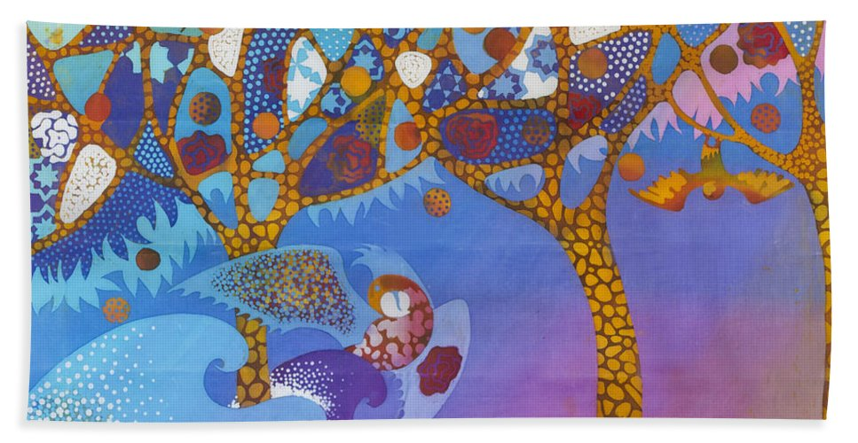 Batik Hand Towel featuring the tapestry - textile Park Guell. General Impression. by Kate Krivoshey
