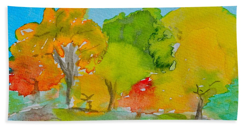Park Bath Sheet featuring the painting Park Impression by Beverley Harper Tinsley