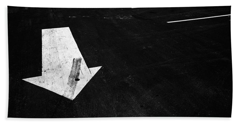 Art Hand Towel featuring the photograph Parking Lot Pavement Arrow Number 1 by Randall Nyhof
