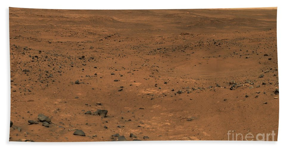 Crater Bath Sheet featuring the photograph Partial Seminole Panorama Of Mars by Stocktrek Images