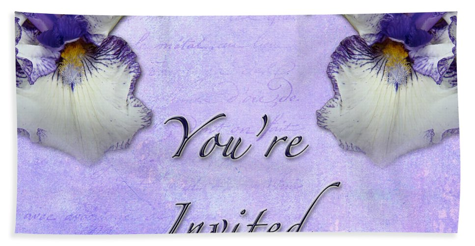 Invitation Hand Towel featuring the photograph Party Invitation - General - Wild Iris - Blue Flag by Mother Nature