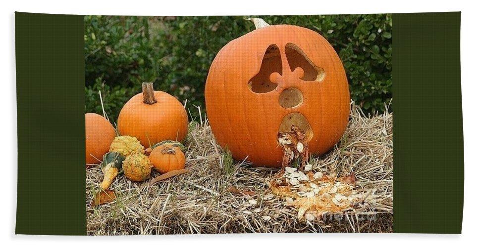 Pumpkins Bath Sheet featuring the photograph Party Pumpkin by Living Color Photography Lorraine Lynch