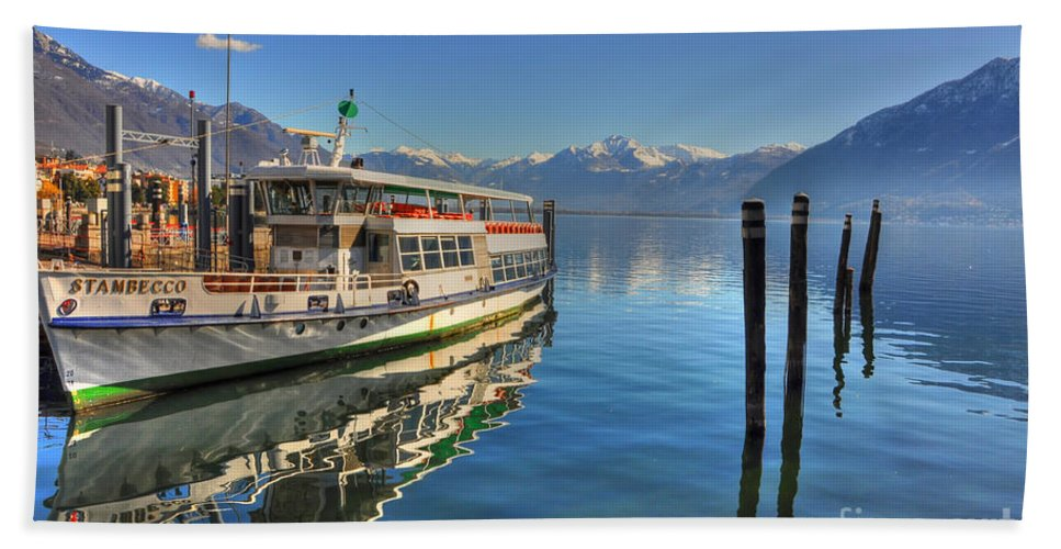 Ship Bath Sheet featuring the photograph Passenger Ship Reflected On The Water by Mats Silvan