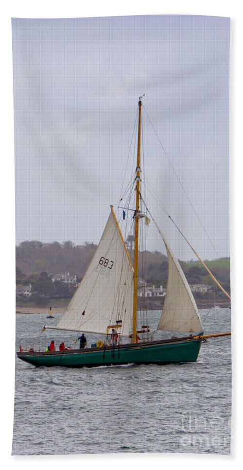 Ocean Hand Towel featuring the photograph Passing St Mawes by Brian Roscorla