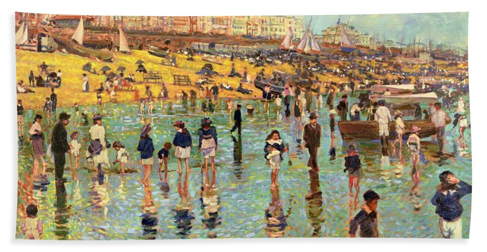Beach Hand Towel featuring the painting Passing Time On Brighton Beach by Robert Tyndall