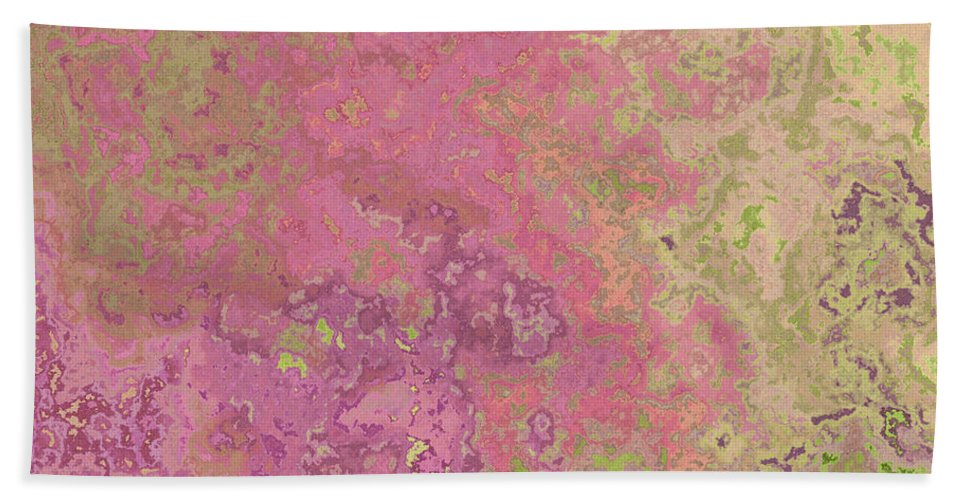 Abstract Bath Sheet featuring the digital art Pastle Pink Stone by Debbie Portwood