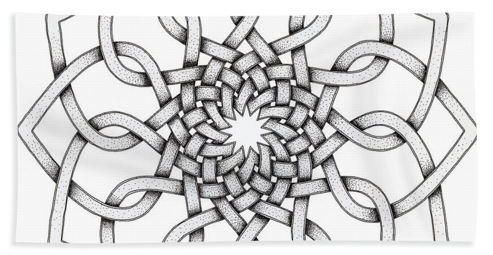 Mandala Bath Sheet featuring the drawing Pattern 18 by Hakon Soreide