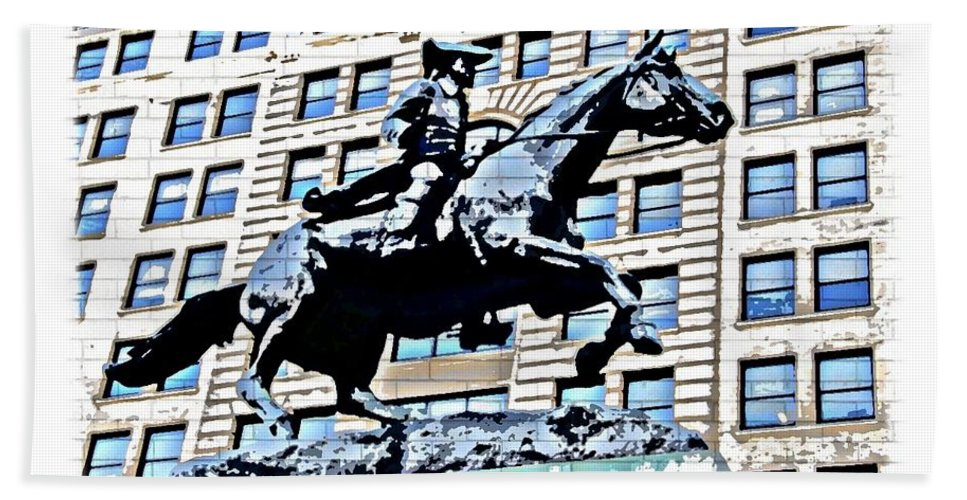 Paul Revere Statue Wilmington City Philadelphia Abstract Bath Sheet featuring the photograph Paul Revere Galloping Statue by Alice Gipson