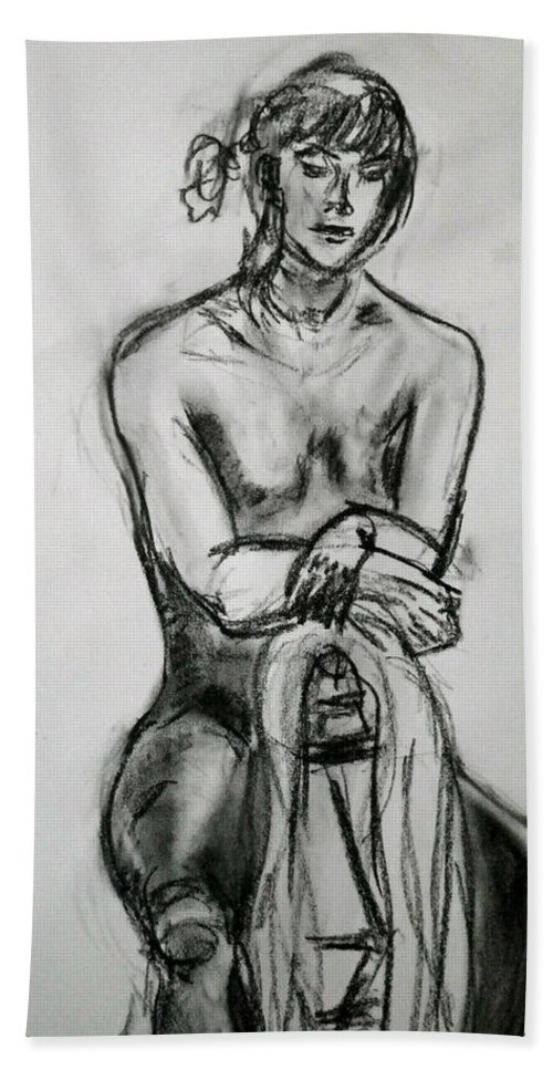 Woman Hand Towel featuring the drawing Paula - Charcoal Life Drawing by Anna Ruzsan