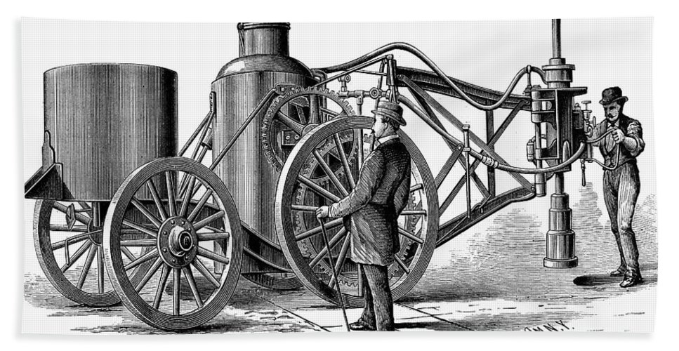 1879 Hand Towel featuring the photograph Paving Machine, 1879 by Granger