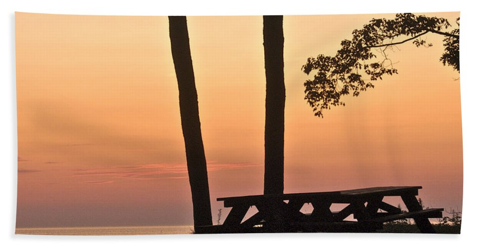 Landscape Hand Towel featuring the photograph Peaceful Evening Picnic 7109 by Michael Peychich