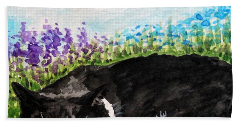 Cat Hand Towel featuring the painting Peaceful Slumber by Elizabeth Robinette Tyndall