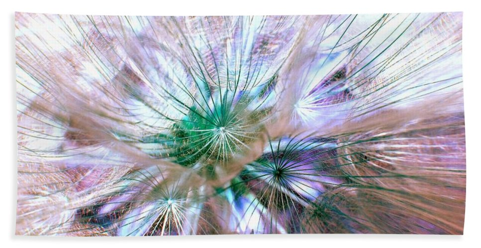 Dandelion Hand Towel featuring the photograph Peacock Dandelion - Macro Photography by Marianna Mills