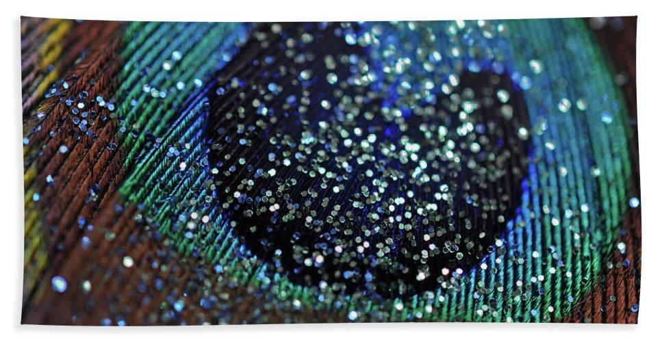Glitz Bath Sheet featuring the photograph Peacock With Bling by Brittany Horton