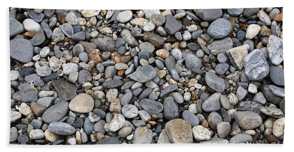 Geology Hand Towel featuring the photograph Pebble Beach Rocks, Maine by Ted Kinsman