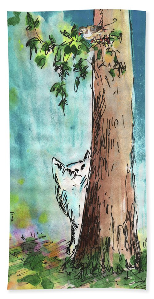 Animals Bath Sheet featuring the painting Peeping Tom by Miki De Goodaboom