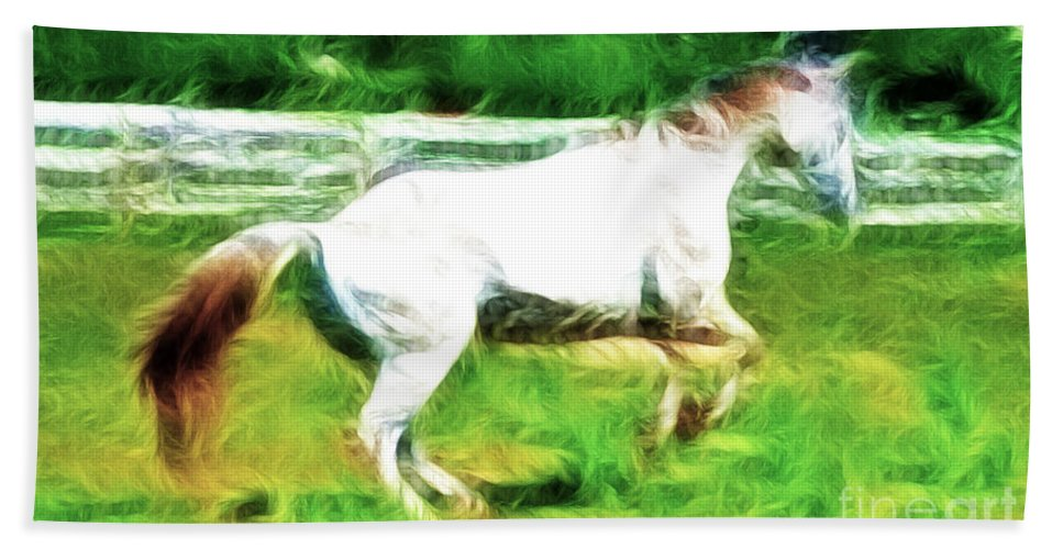 White Horse Bath Sheet featuring the photograph Pegasus Impression by Paul Ward