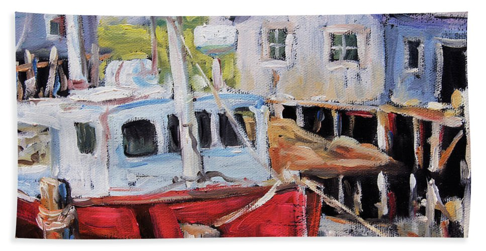 Art Bath Sheet featuring the painting Peggy S Cove 02 By Prankearts by Richard T Pranke