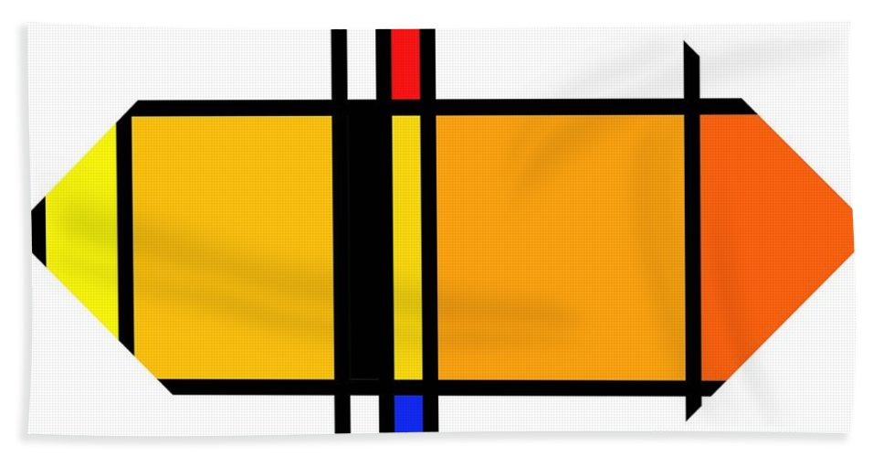 Mondrian Bath Sheet featuring the digital art Pencil Figure by Charles Stuart