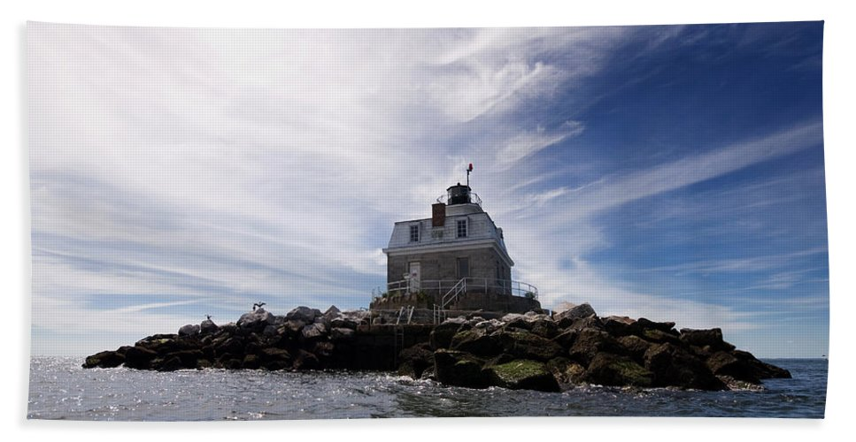 Lighthouse Hand Towel featuring the photograph Penfield Reef Lighthouse by Stephanie McDowell