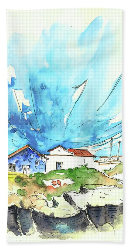 Peniche Hand Towel featuring the painting Peniche in Portugal 04 by Miki De Goodaboom