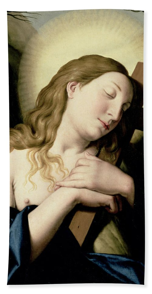 Religion Bath Towel featuring the painting Penitent Magdalene by Il Sassoferrato