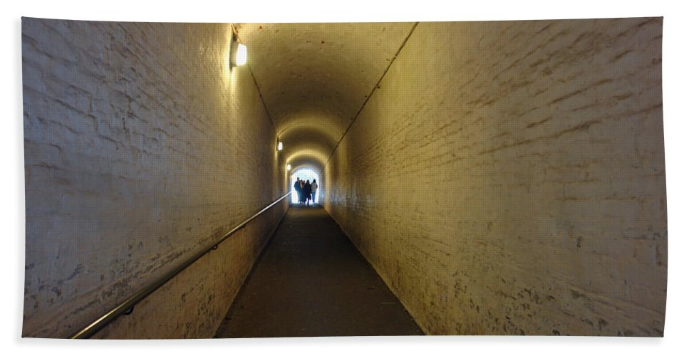 People Bath Sheet featuring the photograph People Starting To Walk Down A Tunnel In Dover Castle by Ashish Agarwal
