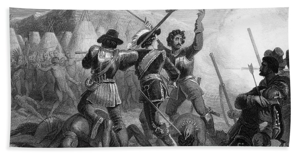 1637 Hand Towel featuring the photograph Pequot War, 1636-3 by Granger