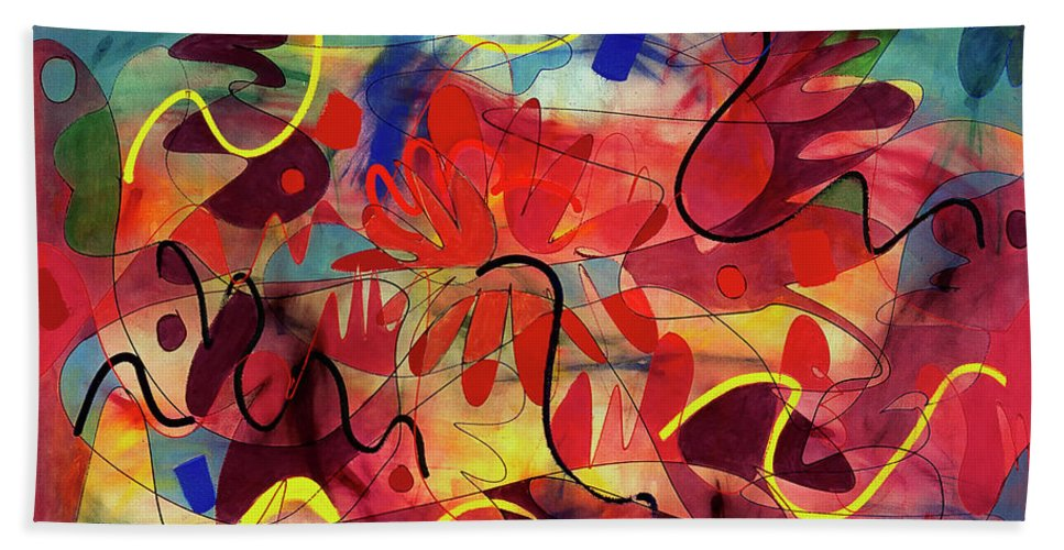 Abstract Bath Sheet featuring the painting Perennial by Lynne Taetzsch