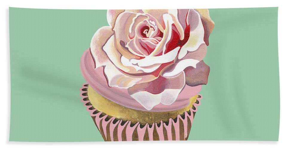 Cup Cake Hand Towel featuring the painting Petal Pink Dream by Shirley Radebach