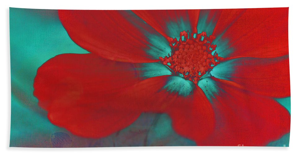 Red Bath Sheet featuring the photograph Petaline - T23b2 by Variance Collections