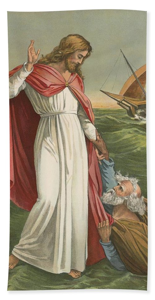 Bible; Children's; Jesus Christ; St Peter; Walking On The Water; Sea; Faith Bath Sheet featuring the painting Peter Walking On The Sea by English School