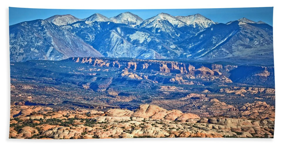 La Sal Mountains Bath Sheet featuring the photograph Petrified Dunes And La Sal Mountains by Tara Turner