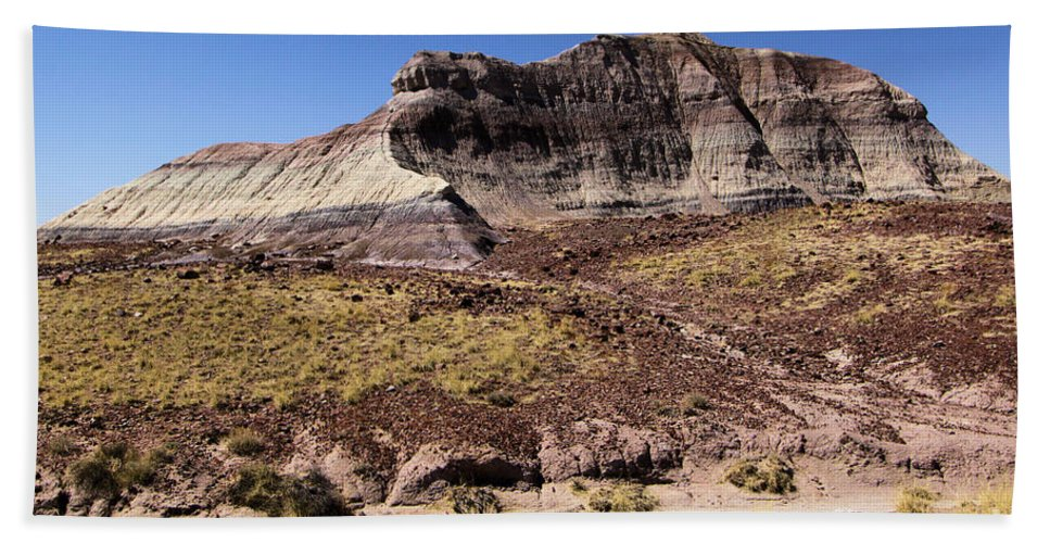 Petrified Forest National Park Bath Sheet featuring the photograph Petrified Forest Badlands by Adam Jewell