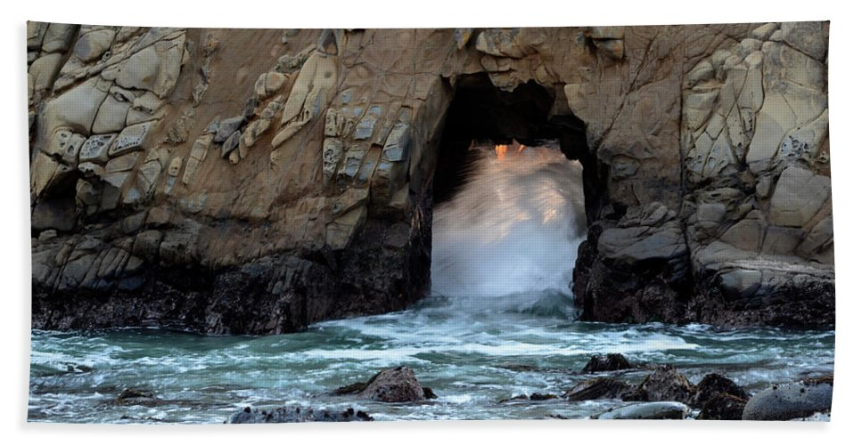 Pfeiffer Rock Bath Sheet featuring the photograph Pfeiffer Rock Big Sur 2 by Bob Christopher