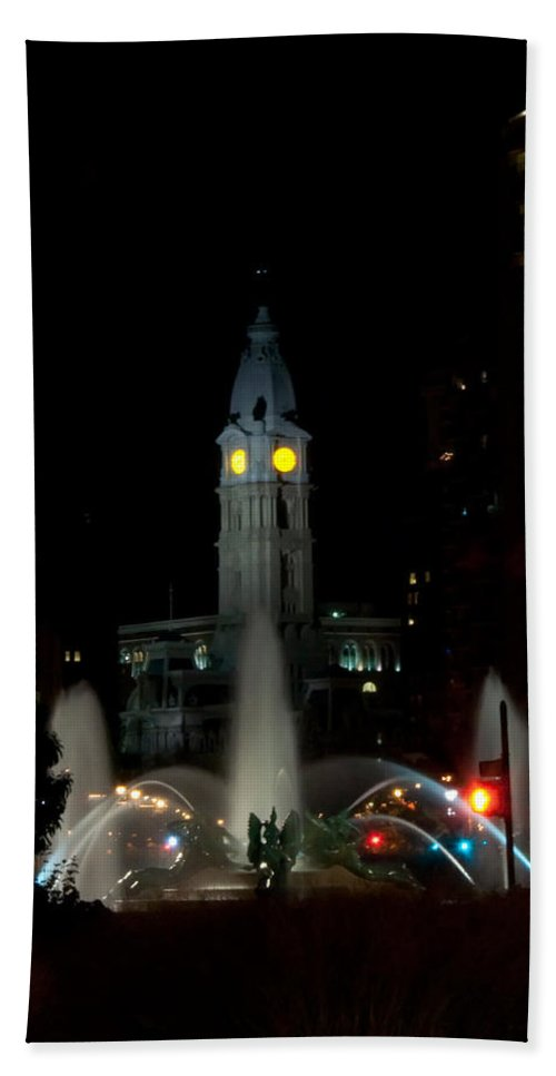 Philadelphia City Hall And Swann Fountain At Night Hand Towel featuring the photograph Philadelphia City Hall And Swann Fountain At Night by Bill Cannon