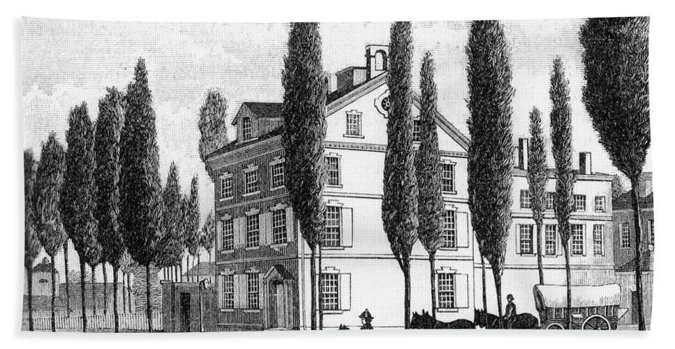 1800 Hand Towel featuring the photograph Philadelphia: House, C1800 by Granger
