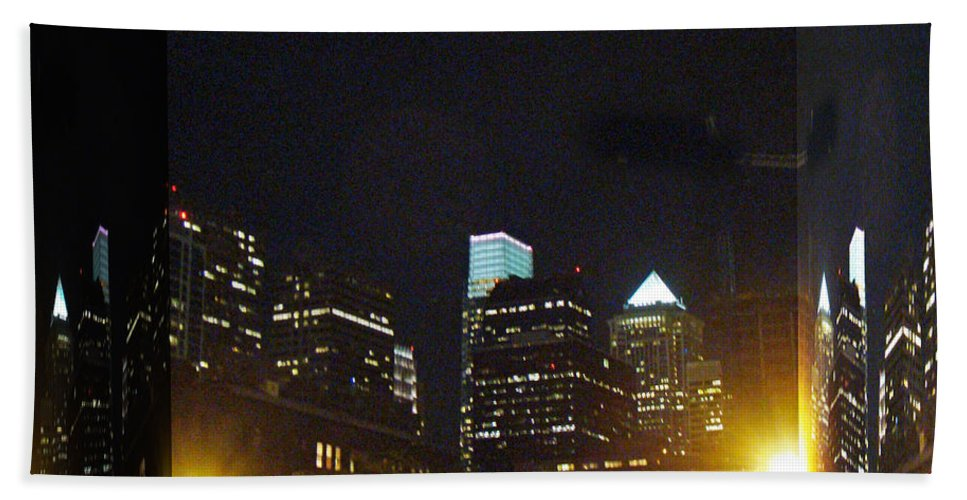 Philadelphia Hand Towel featuring the photograph Philadelphia Skyline At Night - Mirror Box by Mother Nature