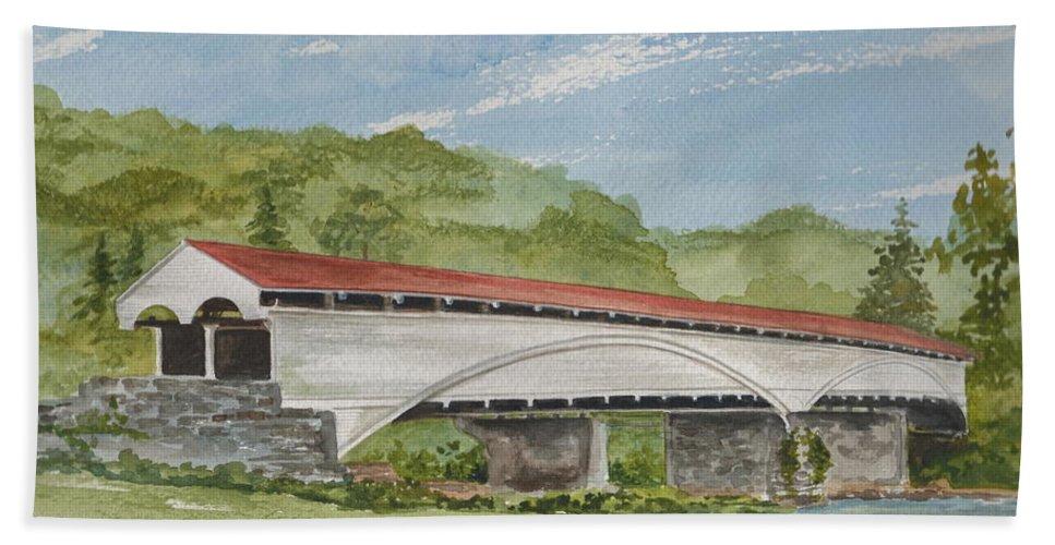 Philippi Covered Bridge Bath Sheet featuring the painting Philippi Covered Bridge by Nancy Patterson
